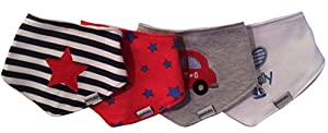 Baby Bandana Drool Bibs with Adjustable Snaps - For Boys/Unisex - 4-Pack - Made with High Quality Absorbent Cotton - Teething Bib for Infants & Toddlers - 100% Money Back Guarantee