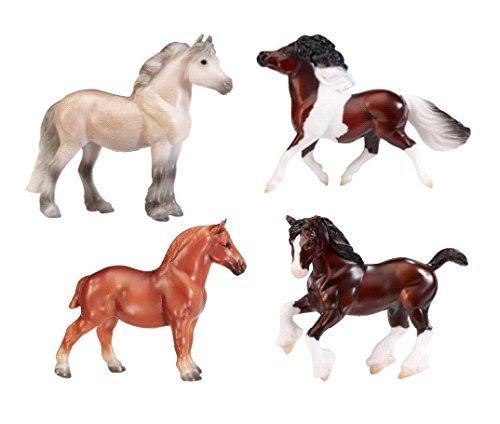 breyer-stablemates-british-pony-draught-stick-horse-4-piece-set-132-scale-by-breyer