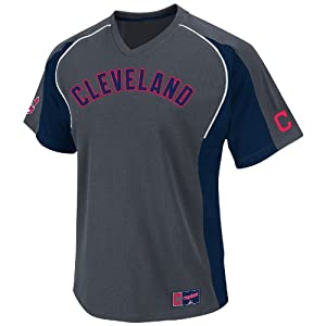 MLB Cleveland Indians Cleanup Hitter V-Neck Top, Granite Navy White by Majestic