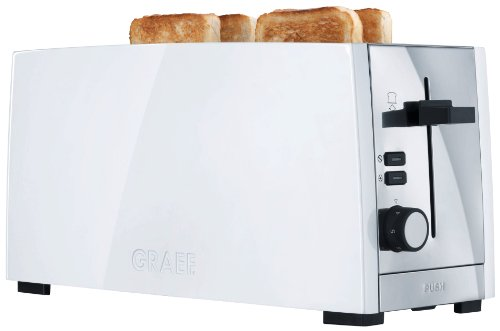 Graef White Polished Stainless Steel 4 Slice Long Slot Toaster