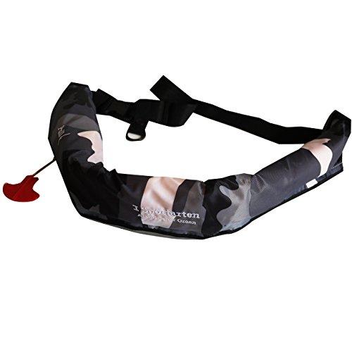 Manual inflatable life jacket I sportarten eye シュポルテン belt type - weight 110 kg support (black)