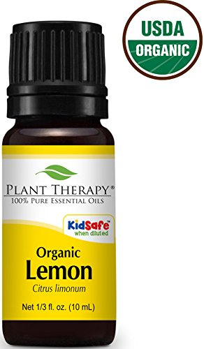 USDA Certified Organic Lemon Essential Oil. 10 ml (1/3 oz). 100% Pure, Undiluted, Therapeutic Grade.