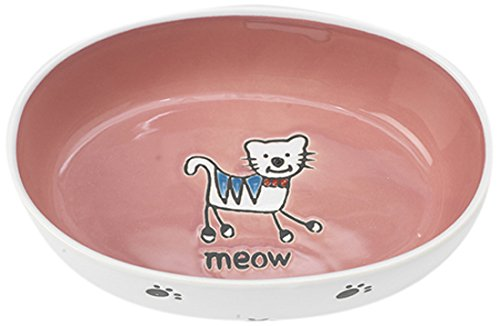 Pet Rageous 2-Cup Silly Kitty Oval Bowl, White/Pink
