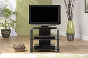 modern small black glass corner plasma lcd tv stand jf 007bb jf007 bb kitchen. Black Bedroom Furniture Sets. Home Design Ideas