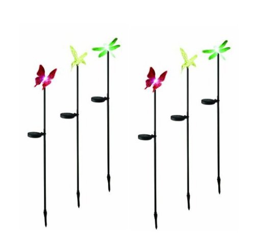 E-Joy(Tm) 2Boxes, 6 Color-Changing Solar Light With Photocell Sensor, 6-Pack, Hummingbird, Dragonfly & Butterfly, 2 Of Each