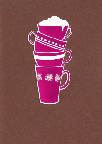 Stack Of Cups A*Press Glitter Thank You Card (Avanti Coffee Cups compare prices)