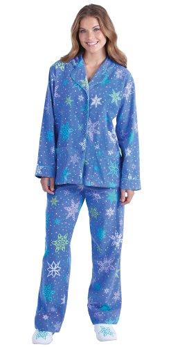 PajamaGram Women's Flakey Cotton Flannel Pajamas w/ Button-Up Top