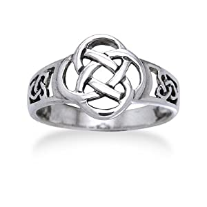 Celtic Triquetra Trinity and Flower Knot Eternity Sterling Silver Ring(Sizes 4,5,6,7,8,9,10,11)