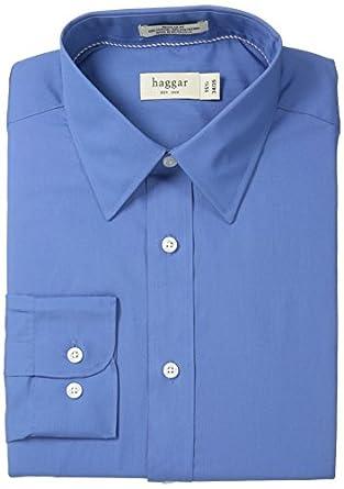 Haggar Men's Poplin Solid Long Sleeve Regular Fit Point Collar Shirt, Blue, 14.5/32-33