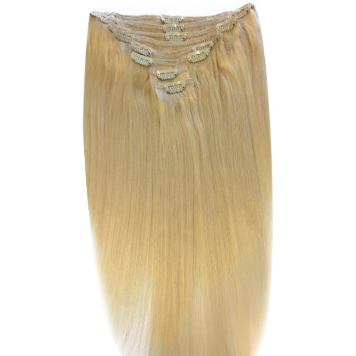 22 inch Lightest Blonde (60). Full Head. Clip in Human Hair Extensions. High quality Remy Hair!. 120g Weight