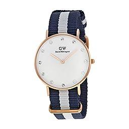 Daniel Wellington Women\'s 0953DW Classy Glasgow Crystal-Accented Gold-Tone Watch with Striped Nylon Band