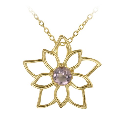 18k Yellow Gold Plated Sterling Silver and Amethyst Flower Pendant Necklace 18