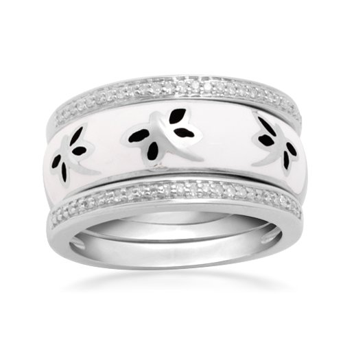 Sterling Silver Black White Enamel Diamond Stack Ring (1/6 cttw, I-J Color, I2-I3 Clarity), Size 5