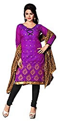 Lovely Look Purple Embroidered Dress Material
