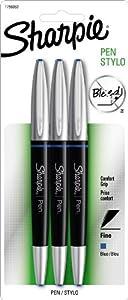 Sharpie Pen Grip Fine Point Pen, 3 Blue Ink Pens (1758053)