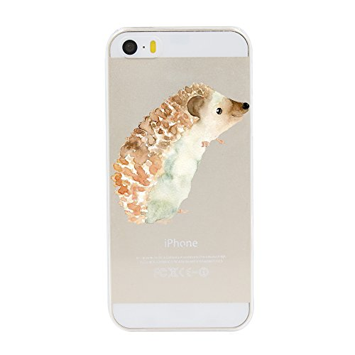 iPhone 5 5S SE Case,Novelty Cartoon Animal Pattern on Soft TPU Silicone Protective Skin Ultra Slim & Clear with Funny Cute Design Bumper Back Cover for 5/5s/SE 4 inch,hedgehog baby