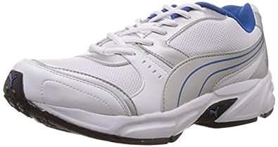 Puma Men's White,Puma Silver and Snorkel Blue Mesh Running Shoes - 10UK/India (44.5EU) (18837703)