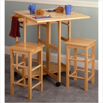 Breakfast Bar Cart Set with Drop-Leaf Table and 2 Stools