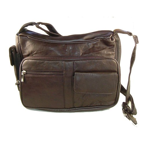 Genuine Leather Handbag with Cell Phone Holder & Many Pockets (Dark Brown)