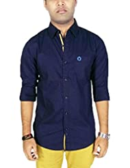 Southbay Men's Navy 100% Cotton Printed Long Sleeve Casual Shirt
