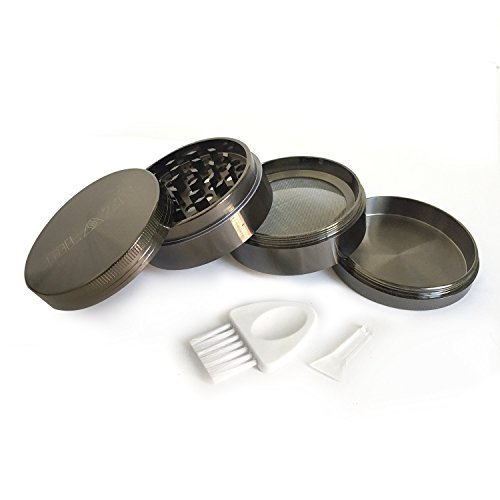 "Premium Zinc Herb Grinder (Gun Metal) with Pollen Catcher, Brush, and Scraper Tool - 4 Piece, 2.5"" Diameter"