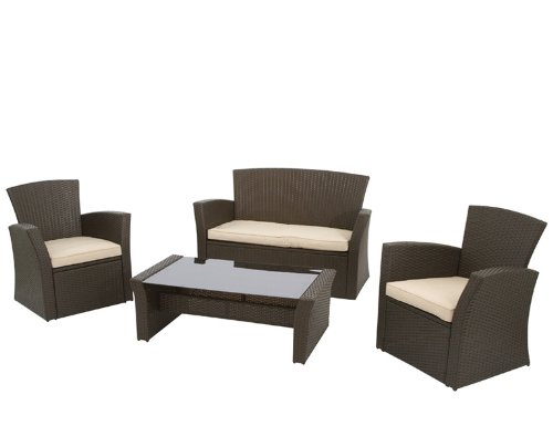 siena garden meran lounge set 4tlg led mo 2 sessel 1 bank 1 tisch incl auflagen billig. Black Bedroom Furniture Sets. Home Design Ideas