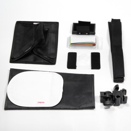 Photography Basic Godox Universal Flash Accessories Kit / Equipment for Canon, Nikon, Pentax, Olympus, Panasonic, Fujifilm, Kodak, GoPro, Samsung Speedlite Speedlight - Soft box + Mini Reflector (Silver, White) + Honey Comb + Color Filters + Snoot Diffuser + Speedlite Holder + Sticky Magic Tapes, now in one package