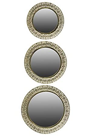 Urban Trends Metal Round Wall Mirror, Pierced Gold, Set of 3 by Urban Trends