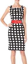 Connected Apparel Womens Windowpane Belted Dress 10 Black/white