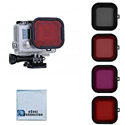 Filter Kit For GoPro Hero3+ and Hero4 Camera. Red, Purple, Pink and Gray Colors. Scuba Green Water, Scuba Tropical Water, ND & Warming Filters