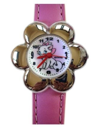 Pink Leather Band Marie the Cat Watch with Flower Face - Marie the Cat Flower Faced Womens Watch