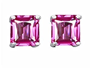 Star K Square 7mm Created Pink Sapphire Earrings Sterling Silver