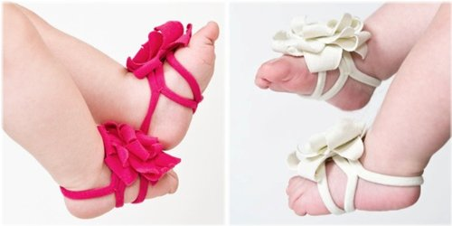 2 Pairs - Hot Pink & White - So Sydney Brand Barefoot Petals - Soft Wrap Flower Sandals