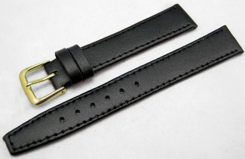 Black Leather Watch Strap Band With A Stitched Edging And Nubuck Lining 16mm