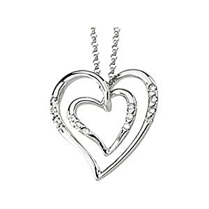 IceCarats Designer Jewelry 14K White Gold 14K White 1/10 Ctw Diamond Heart Necklace