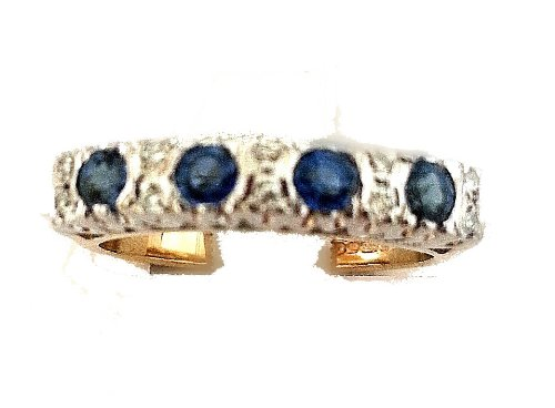 0.05ct H/SI1 Round Brilliant Half Eternity Sapphire & Diamond Ring set in 9ct yellow and white gold.Size- M 1/2