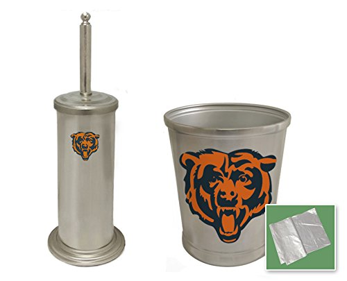 New Stainless Steel Finish Toilet Brush and Holder & Trash Can Set featuring Chicago Bears NFL Team Logo (Bears Garbage Can compare prices)