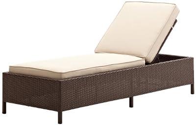 Fancy Strathwood Griffen All Weather Wicker Chaise Lounge Dark Brown
