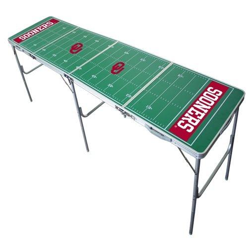 Oklahoma Sooners Tailgate Table, NCAA Football Tailgating, 2x8, 8ft, Aluminum, Lightweight, Portable
