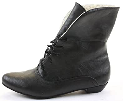Womens Pixie Vintage Style Winter Low Heel Short Flat Ankle Boots Size 3- 8