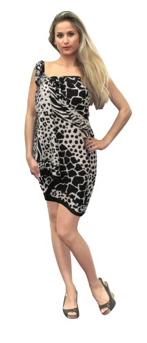La Leela Animal Printed Beach Sarong Black And White