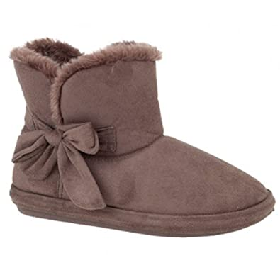 Womens Faux Suede Brown Furry Bootee Slipper Ladies Warm Slippers Sizes UK 3