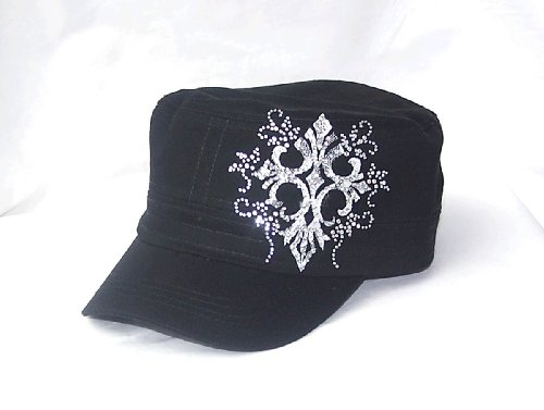 White Cross Swirls Ab Rhinestone Flattop Black Hat Cap