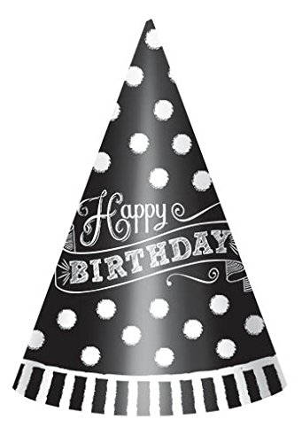 Amscan Birthday Paper Cone Party Hats, Black/White, 7