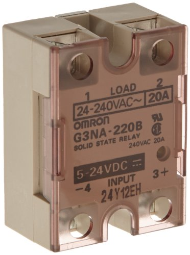 Omron G3Na-220B-Dc5-24 Solid State Relay, Zero Cross Function, Yellow Indicator, Phototriac Coupler Isolation, 20 A Rated Load Current, 24 To 240 Vac Rated Load Voltage, 5 To 24 Vdc Input Voltage