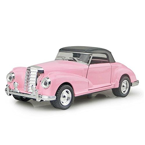 Kidcia Diecast Alloy Cars 1:32 Scale Collectible Vehicle Models Pull Backs with Light & Sound Classic Cars for Toddlers ( Button Cells Not Included ), Pink