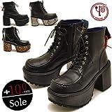[ヨースケ] YOSUKE U.S.A ヨースケ 厚底 ブーツ メンズ レースアップヒールブーツ メンズ 靴27.0cm ブラック