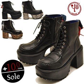 [ヨースケ] YOSUKE U.S.A ヨースケ 厚底 ブーツ メンズ レースアップヒールブーツ メンズ 靴 (26.0cm, ブラック(予約))