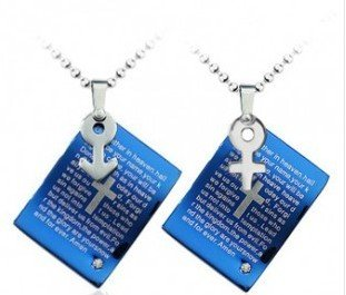 Lliveer Blue Male And Female Symbols Scripture Cross Couple Titanium Steel Pendant Necklace One Pair Fashion Charms Jewelry Personality Gift In A Nice Jewellery Box
