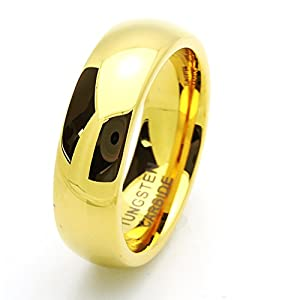 Little Treasures 7MM Comfort Fit Tungsten Carbide Wedding Band Gold Plated Ring For Men & Women Cobalt Free
